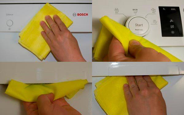 Протираем кнопки и дверь Бош
